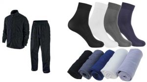 Rain Breaker Complete Rain Suit With Carry Bag And 12 Pair Men Colors Ribbed Formal Wear Dress Socks