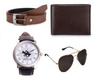 Ultimate Combo Of Brown Belt Wallet Avaitor Sunglass With White Watch
