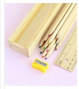 2 X Wooden Color Pencil 12 Pcs, Sharpener With 20cm Ruler Top Wooden Box