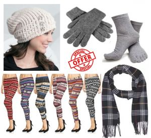Buy Winter Wear For Women Combo ( Muffler,gloves,cap, 5 Finger Socks) & Get 1 Woolen Leggings Free