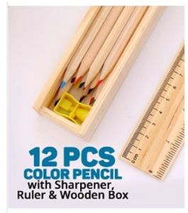 Wooden Color Pencil 12 Pcs, Sharpener With 20cm Ruler Top Wooden Box