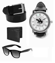 Men Fashion Wear Combo Of Belt , Watch , Wayfarer Sunglass And Wallet