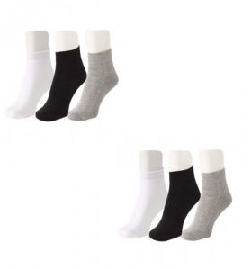 Jockey Mens Cotton Multicolor Socks (6 Pair Socks- 2-black, 2-white , 2 Grey) (code - Jockey-2)