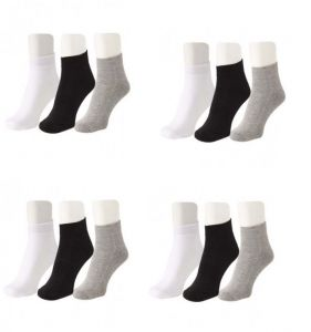 Jockey Mens Cotton Multicolor Socks (12 Pair Socks-4 Black,4 White , 4 Grey) (code - Jockey-4)
