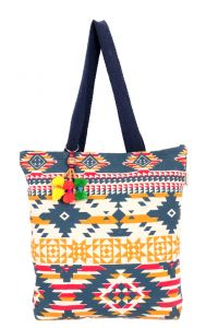 Pick Pocket Blue Aztec Tote
