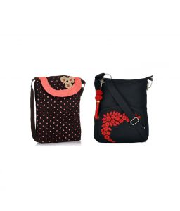 Combo Of Pick Pocket Brown And Pink Polka Sling With Black Small Sling Bag
