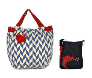 Combo Of Pick Pocket Accrue With Blue Prints And Heart Shaped Tassel With Black Small Sling Bag