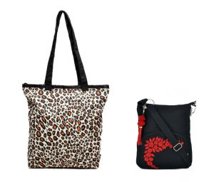 Combo Of Pick Pocket Animal Print Tote With Black Small Sling Bag