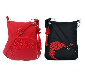 Combo Of Pick Pocket Two Cute Small Red And Black Sling Bag
