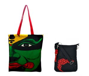 Combo Of Pick Pocket Famous Kathakali Tote With Black Small Sling Bag