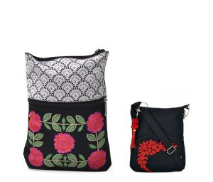 Combo Of Pick Pocket Black And White Emb.small Sling With Black Small Sling Bag