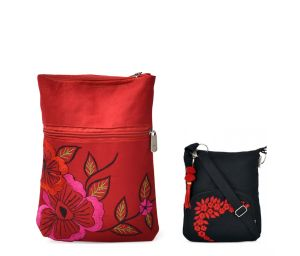 Combo Of Pick Pocket Beautiful Red And Black Embrodidery Sling With Black Small Sling Bag