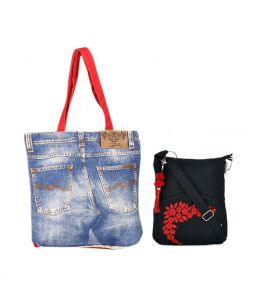 Combo Of Pick Pocket Wonderful Denim With Black Small Sling Bag