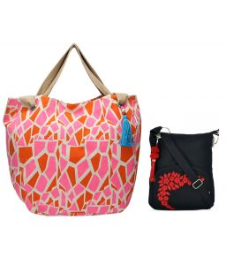 Combo Of Pick Pocket Animal Giraffe Tote With Black Small Sling Bag