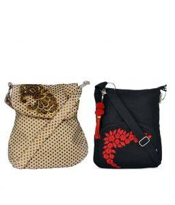 Combo Of Pick Pocket Beautiful Off White Gold Flower With Black Small Sling Bag