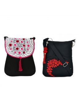 Combo Of Pick Pocket Black Sling Pink Embroidery With Black Small Sling Bag