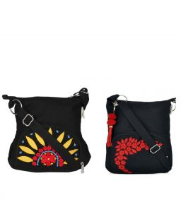 Combo Of Pick Pocket Black Sunflower Sling With Black Small Sling Bag