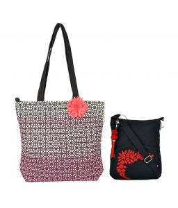 Combo Of Pick Pocket Cute Pink Shaded Tote Bag With Black Small Sling Bag