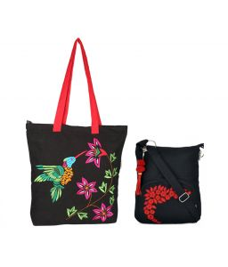 Combo Of Pick Pocket Beautiful Black Humming Bird With Black Small Sling Bag