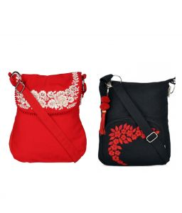 Combo Of Pick Pocket Red Sling Bag With Silver Embroidery With Black Small Sling Bag