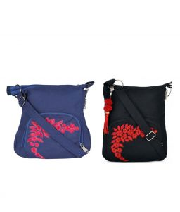 Combo Of Pick Pocket True Blue Cross Body Sling With Black Small Sling Bag
