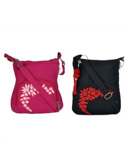 Combo Of Pick Pocket Think Pink Cross Body Sling With Black Small Sling Bag