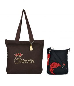 Combo Of Pick Pocket The Princess Shopper Bag With Black Small Sling Bag