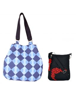 Combo Of Pick Pocket True Blue Denim Jholi With Black Small Sling Bag