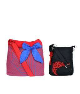 Combo Of Pick Pocket Blue Big Bow Cross Body Sling With Black Small Sling Bag