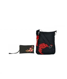 Combo Of Pick Pocket Poppy,polka Wrislet With Black Small Sling Bag