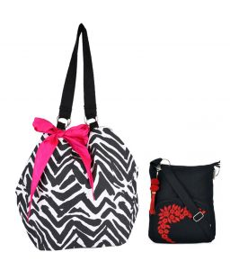 Combo Of Pick Pocket Scribble B&w Jholi With Pink Bow With Black Small Sling Bag