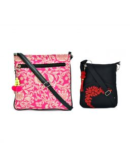 Combo Of Pick Pocket Tribe White And Pink Canvas Pu Crossbody Sling With Tassel With Black Small Sling Bag