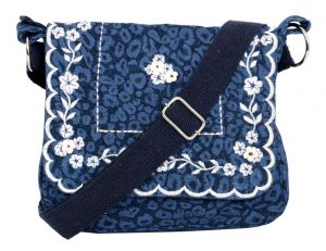 Triveni,Pick Pocket,Tng,The Jewelbox,Bikaw Handbags - Pick Pocket Denim White Embroidery Sling