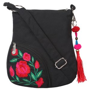 Port,Ag,Arpera,Pick Pocket Women's Clothing - Black Sling with Red Flower Embroidery
