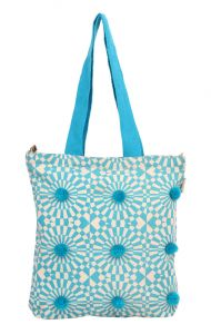 Kiara,Fasense,Flora,Pick Pocket,Avsar,Gili,Diya,Jpearls Women's Clothing - Pick Pocket Blue Pom Pom Tote