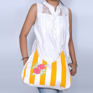 Pick Pocket Canvas Yellow And White Sling Bag Slwylrose22