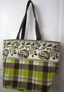 Pick Pocket Canvas Brown And Lime Handbag Hand Bag Hnbrnchk28