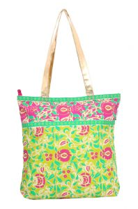 Hoop,Kiara,Oviya,Parineeta,Surat Tex,Pick Pocket Women's Clothing - Pick Pocket Lime Green Gold Handle Tote