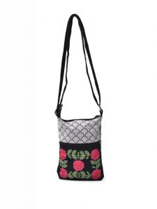 Hoop,Shonaya,Arpera,Tng,Pick Pocket,Flora Handbags - Pick Pocket Black Canvass Sling Bag - slblkwemb52