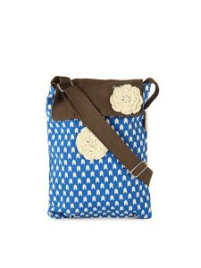 pick pocket,gili Women's Accessories - Sling Bag With Blue Prints And A Brown Flap.