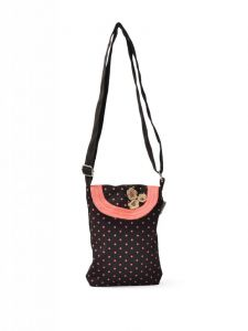Hoop,Shonaya,Arpera,Tng,Sangini,Pick Pocket,Flora,Azzra Handbags - Pick Pocket Brown Canvass Sling Bag - Slbrowpolka53