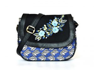 Pick Pocket Black And Blue Embroidered Canvas Pu Sling Bag