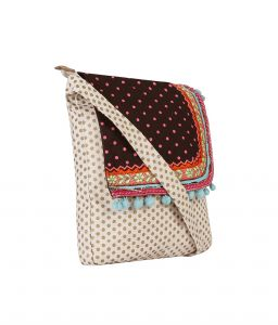 Pickpocket Gold And Pink Dot Canvas Sling Bag With Brown Top And Embroidery
