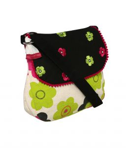 Handbags - Pick Pocket Lime green flower canvas sling bag with black top and embroider