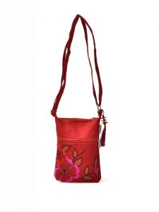 Kiara,Fasense,Flora,Triveni,Pick Pocket,Platinum,Surat Diamonds Handbags - Pick Pocket Red Canvass Sling Bag - Slredpink54
