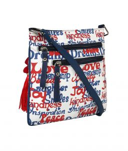 Pick Pocket White Pu And Canvas Fushioned Sling Bag With Smart Print