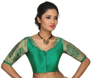 Designer Saree Blouses - The Blouse Factory-Greenstunning Collared Blouse