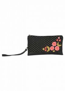 Pick Pocket Canvas Hand Bags Black Clutch With Polka Dot Embrodiery