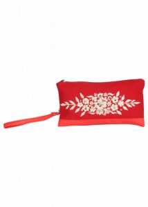 Pick Pocket Canvas Red Clutch With Embrodiery
