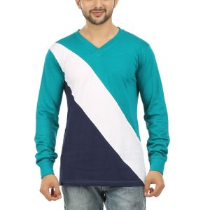 Aalryt Full Sleeve V Neck Cotton T Shirt White(code-spl003)